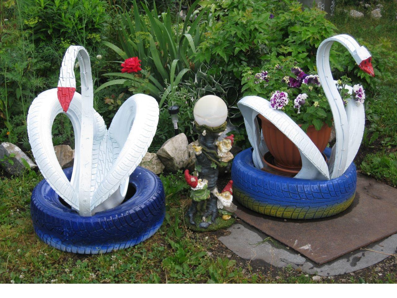 Лебеди из колес