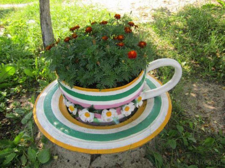 Колеса для цветов фото своими руками 43