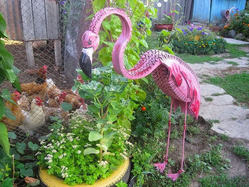 Как сделать фламинго из покрышки