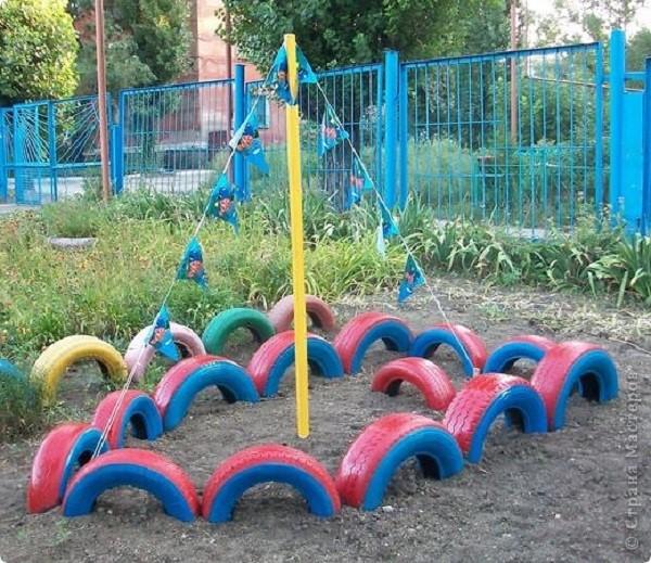 детская площадка из шин