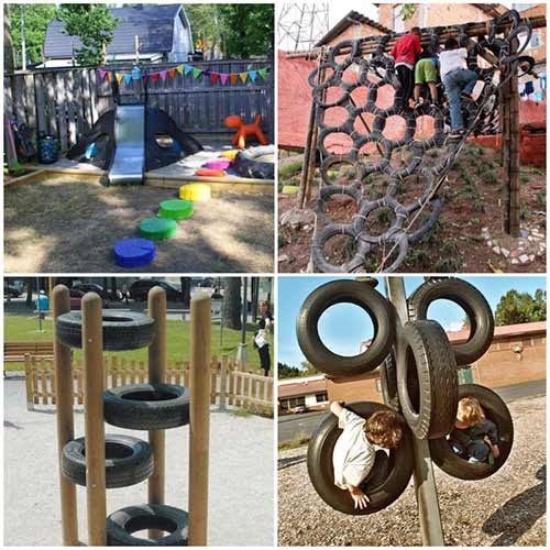 Конструкции из старых шин для детской площадки